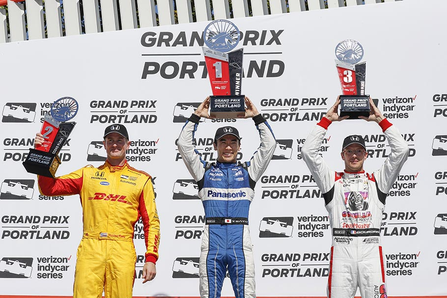 Sato Hunter-reay Bourdais Podium 2018 Portland